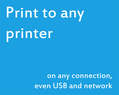 Print to any printer on any connection, even USB and network