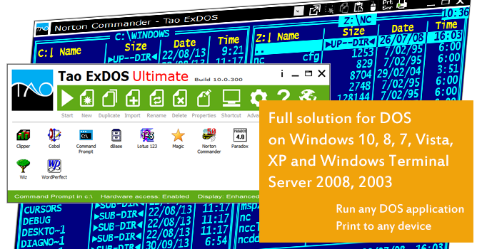 Run any DOS program on Windows 10, 8, 7, Vista, XP and Windows Terminal Server 2008, 2003. Print from DOS to any printer, Word, PDF and Fax